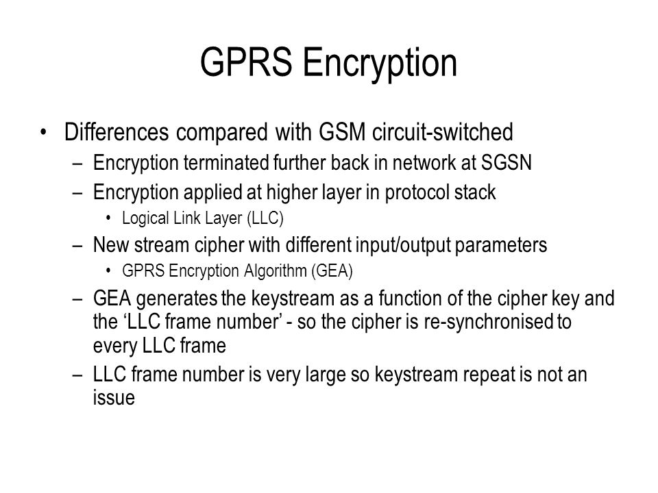 GPRS Encryption Differences compared with GSM circuit-switched