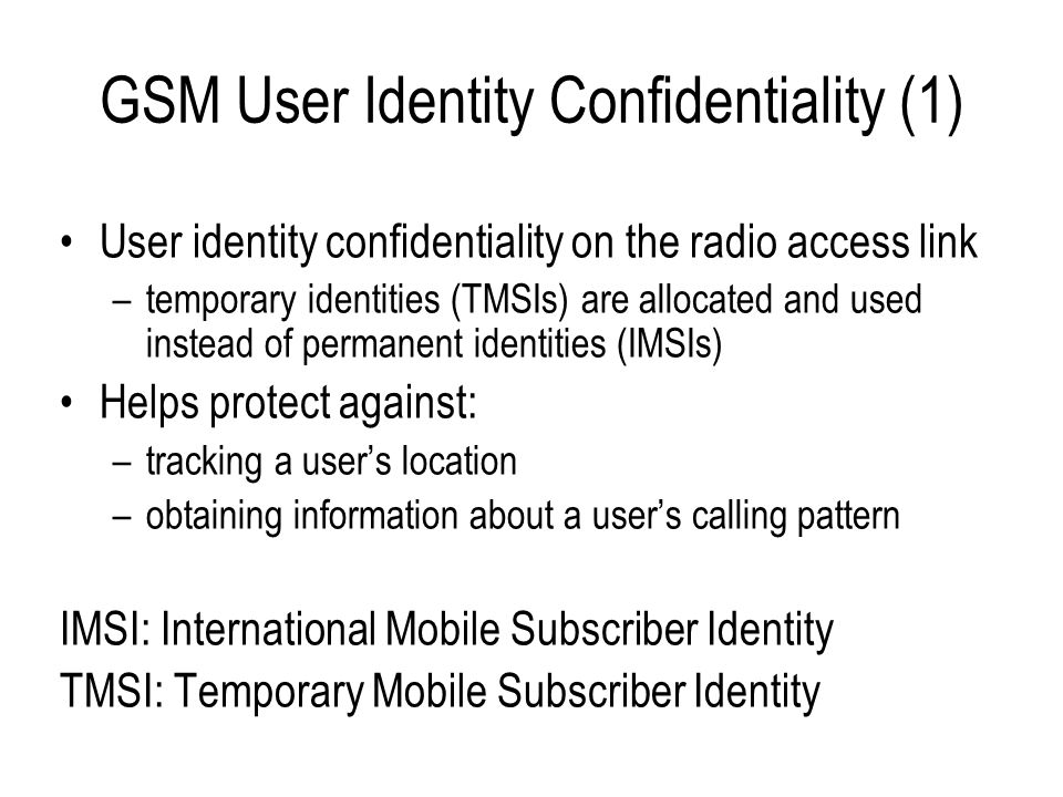GSM User Identity Confidentiality (1)
