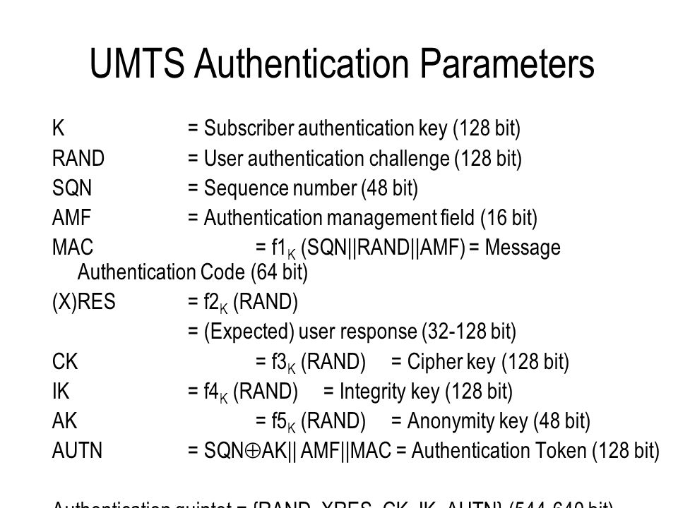 UMTS Authentication Parameters