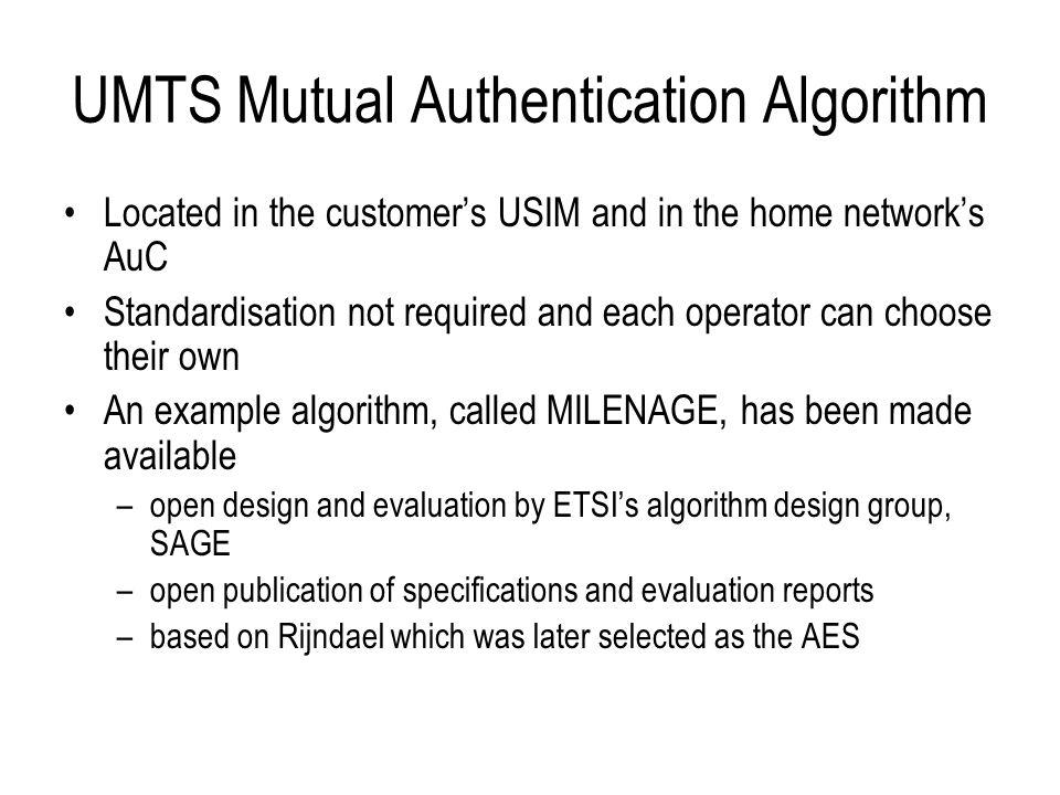 UMTS Mutual Authentication Algorithm