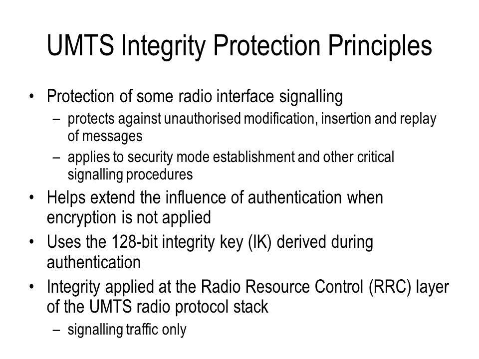 UMTS Integrity Protection Principles