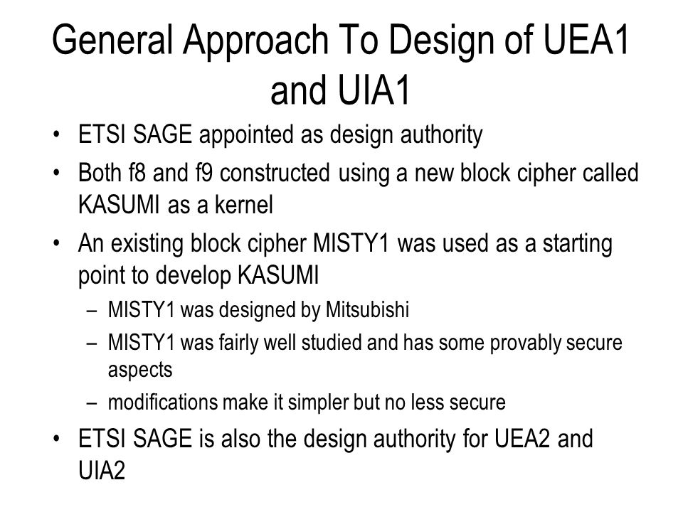 General Approach To Design of UEA1 and UIA1
