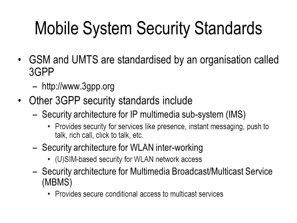 Mobile System Security Standards