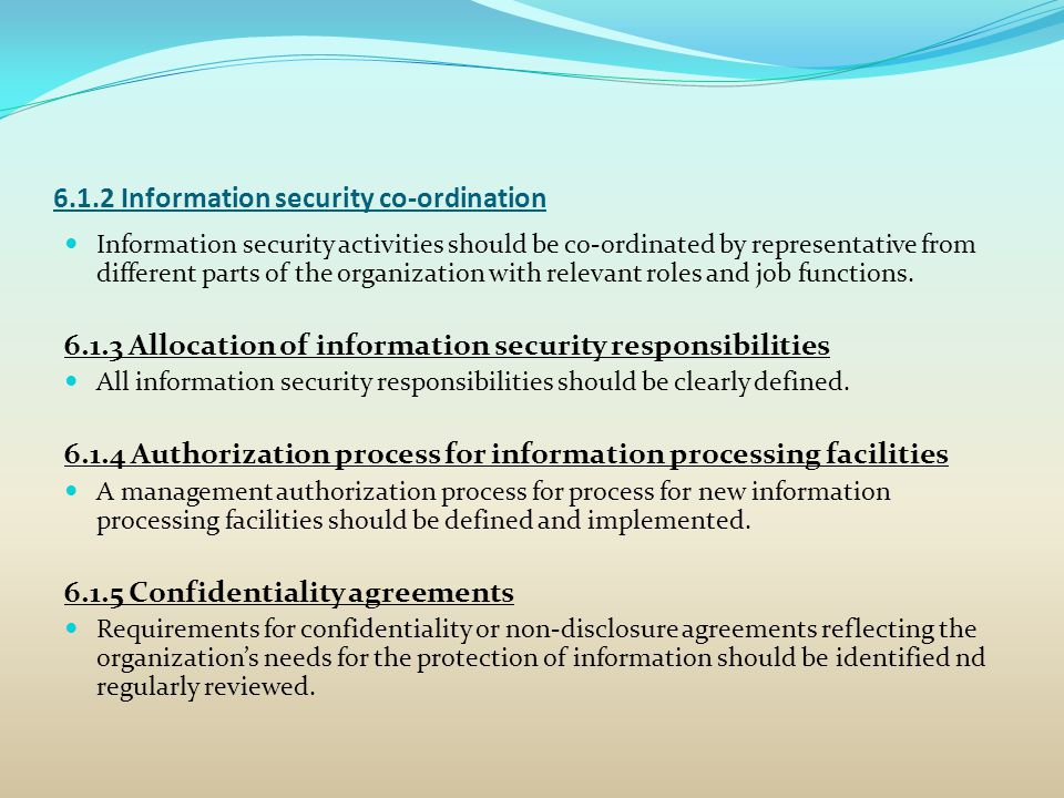 6.1.2 Information security co-ordination