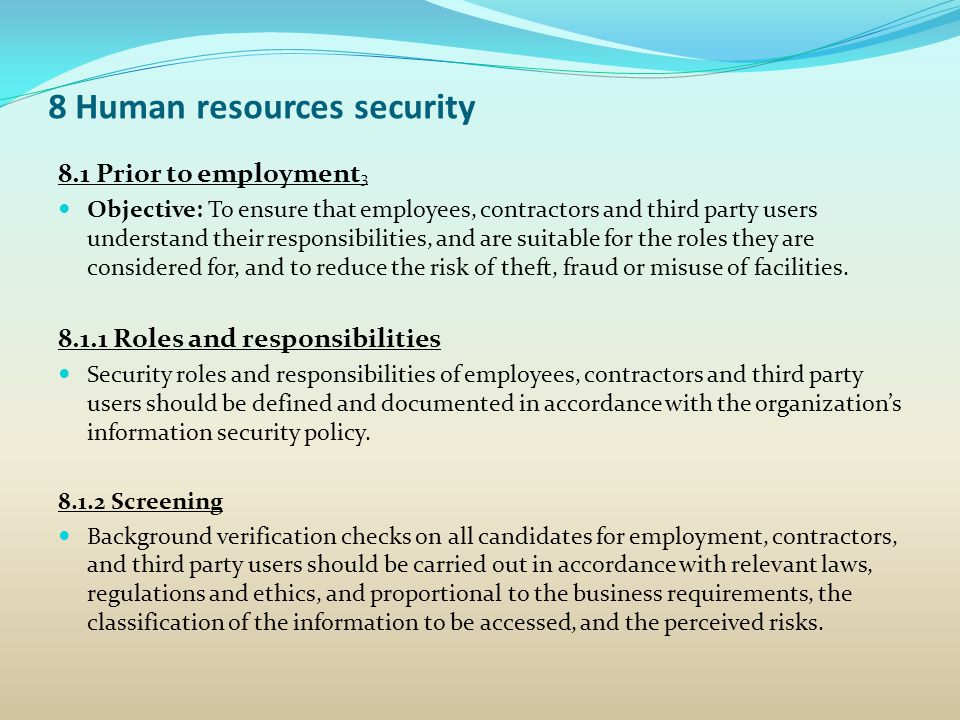 8 Human resources security