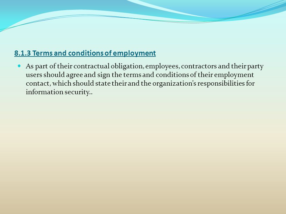 8.1.3 Terms and conditions of employment