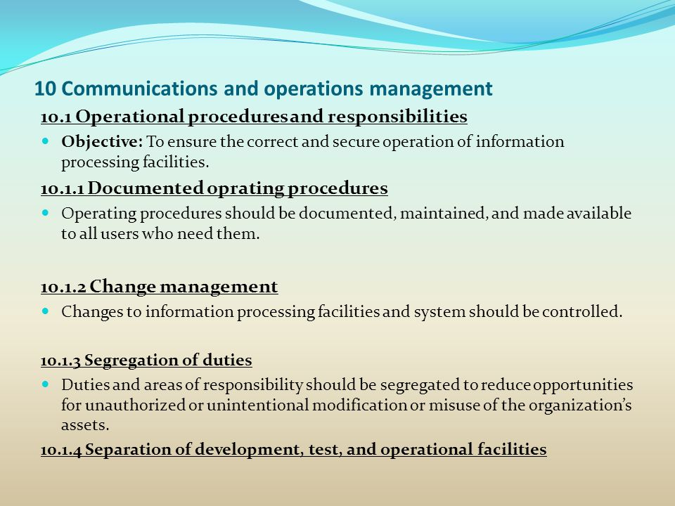 10 Communications and operations management