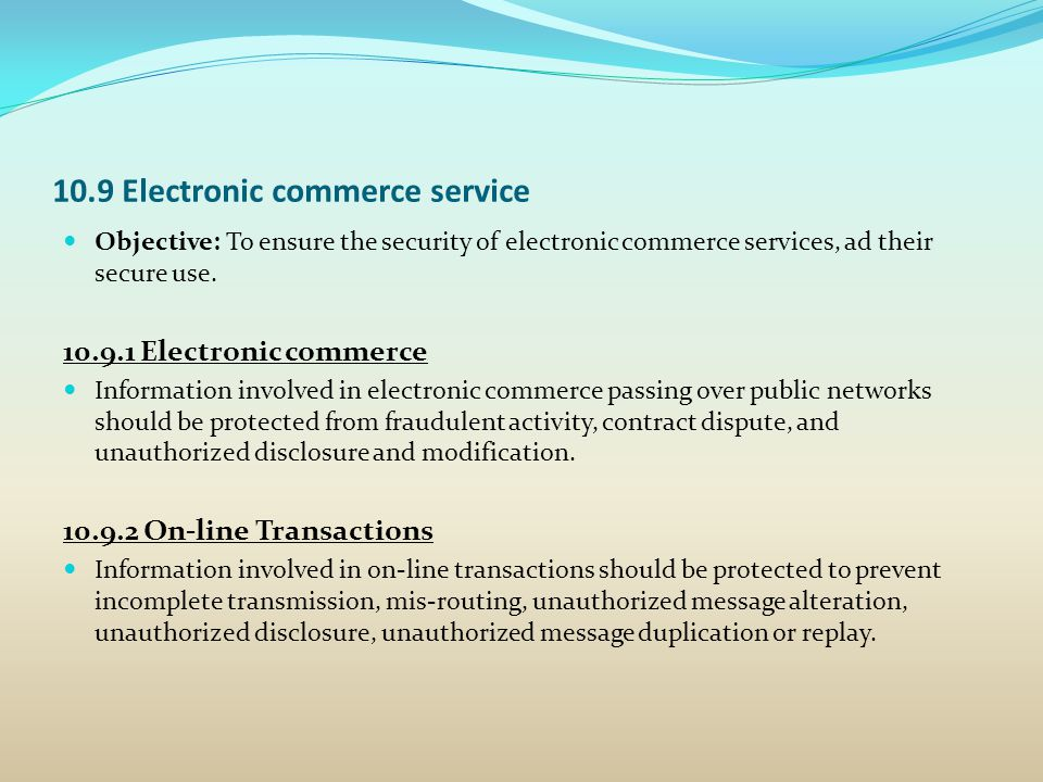 10.9 Electronic commerce service
