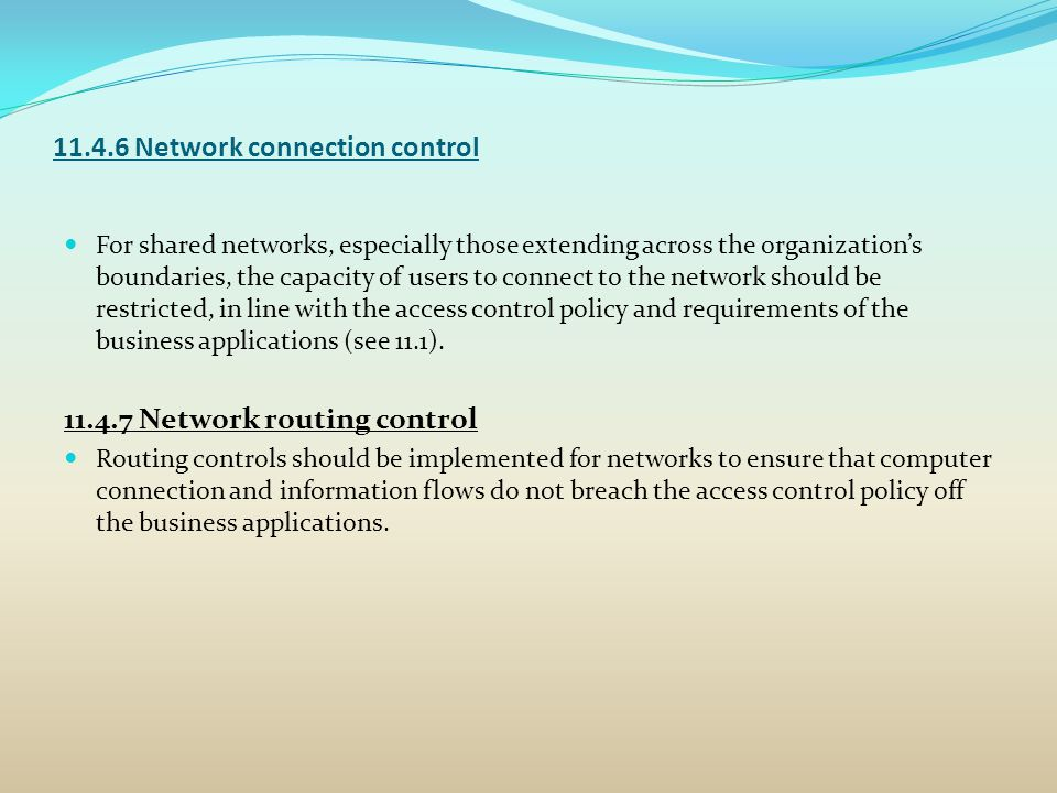 11.4.6 Network connection control