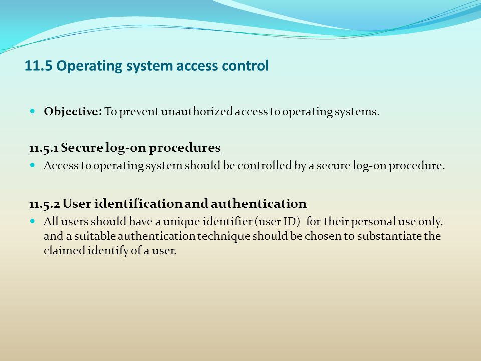 11.5 Operating system access control