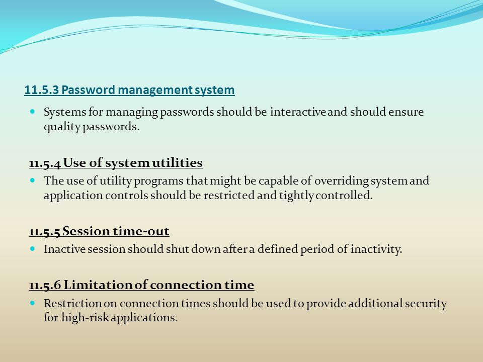11.5.3 Password management system
