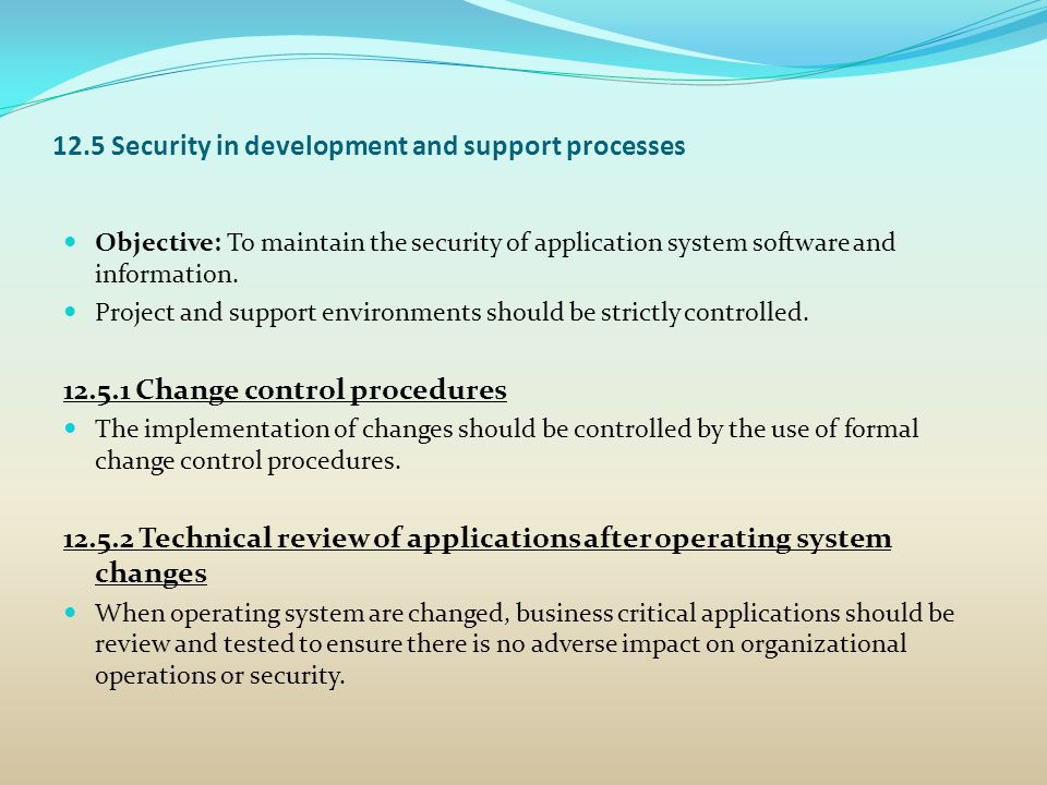 12.5 Security in development and support processes