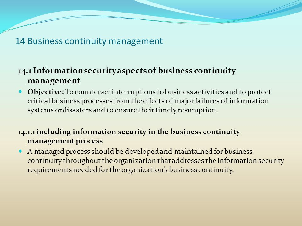 14 Business continuity management