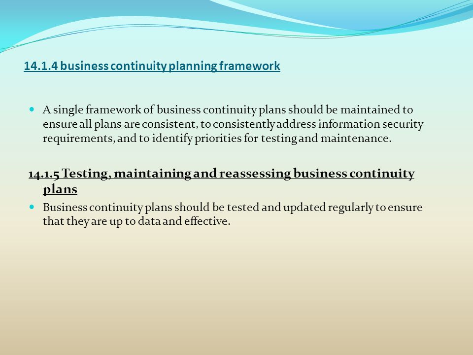 14.1.4 business continuity planning framework