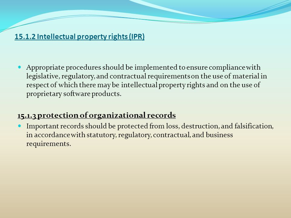 15.1.2 Intellectual property rights (IPR)