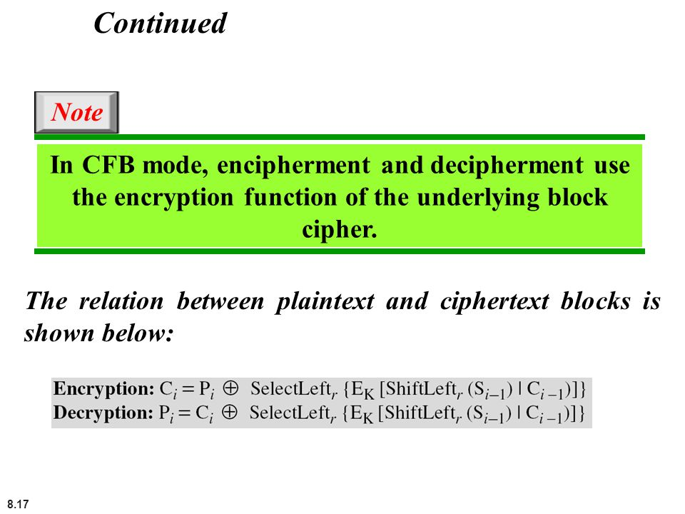Continued Note. In CFB mode, encipherment and decipherment use the encryption function of the underlying block cipher.