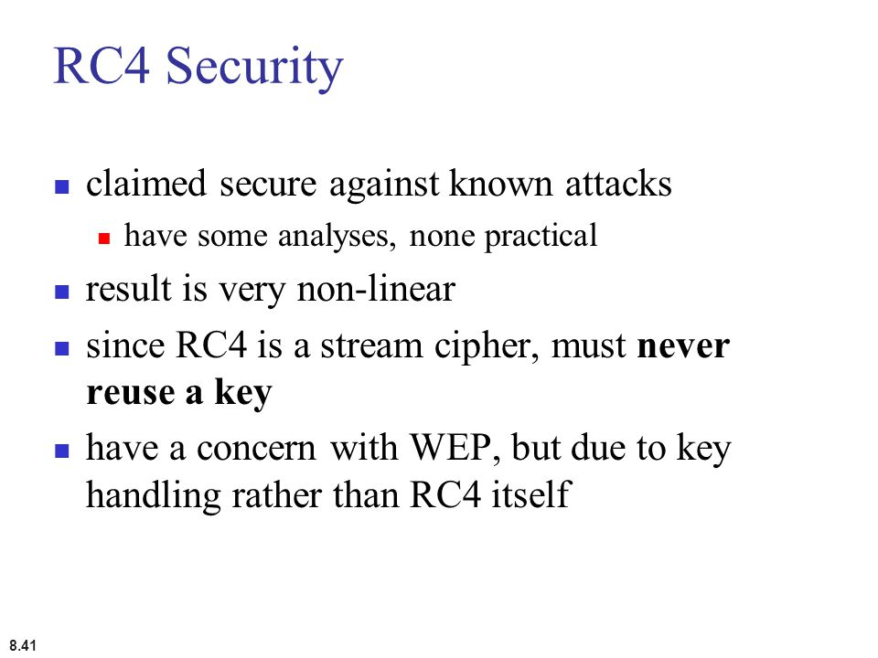 RC4 Security claimed secure against known attacks