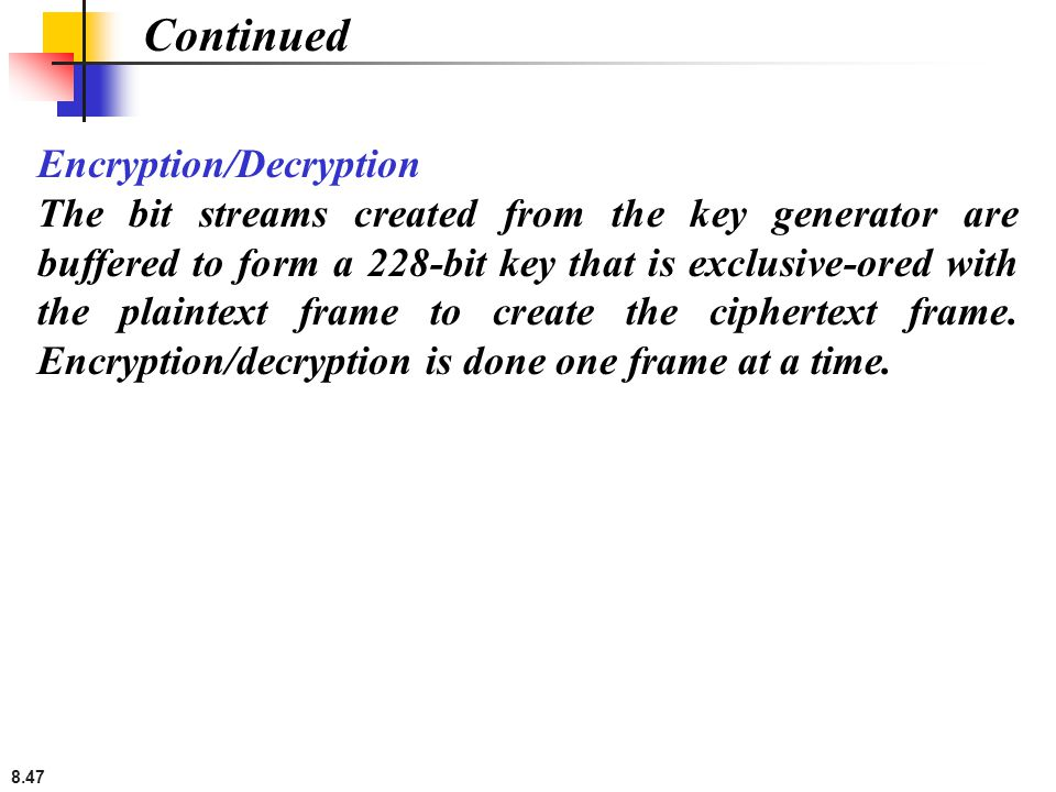 Continued Encryption/Decryption