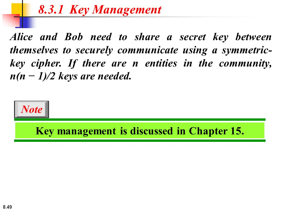 Key management is discussed in Chapter 15.