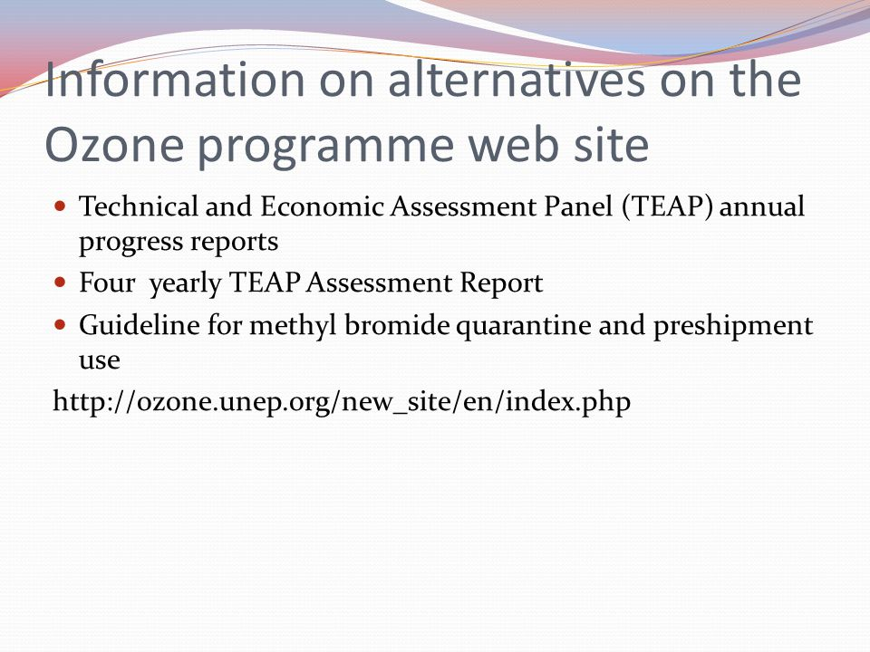 Information on alternatives on the Ozone programme web site
