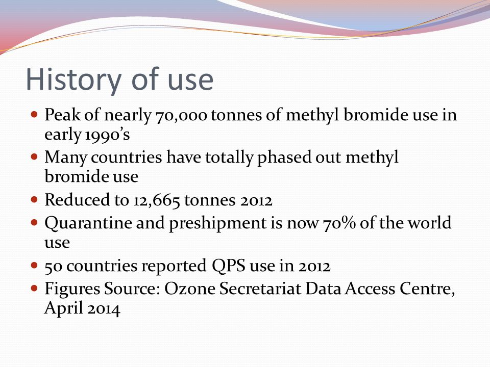 History of use Peak of nearly 70,000 tonnes of methyl bromide use in early 1990's. Many countries have totally phased out methyl bromide use.
