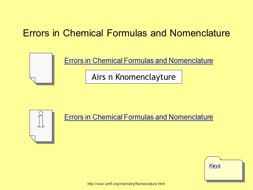 Errors in Chemical Formulas and Nomenclature