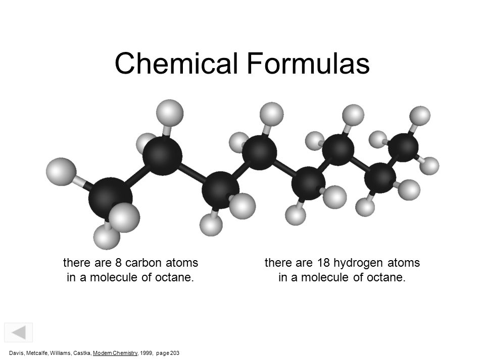 C8H18 Chemical Formulas Subscript indicates that