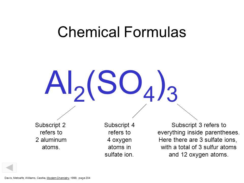 Al2(SO4)3 Chemical Formulas Subscript 2 refers to 2 aluminum atoms.