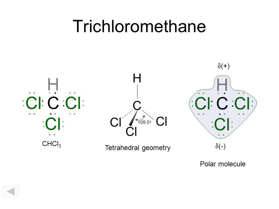 Trichloromethane H H Cl C Cl Cl C Cl Cl Cl H C Cl d(+) CHCl3 d(-)