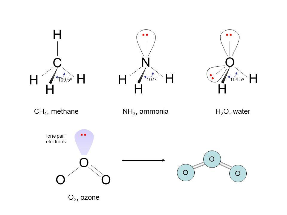 N H .. .. C H O .. H H .. O CH4, methane NH3, ammonia H2O, water O