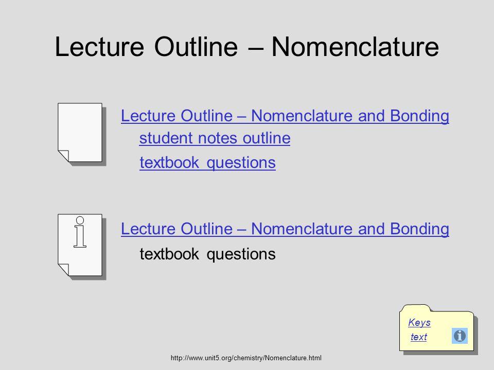 Lecture Outline – Nomenclature