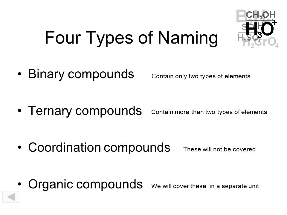 Four Types of Naming Binary compounds Ternary compounds