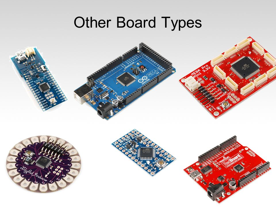 Other Board Types 32. Arduino Fio – Programmed using Funnel (ActionScript, Processing, Ruby) LilyPad 328 Main Board.