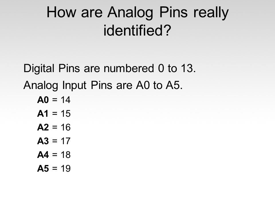 How are Analog Pins really identified