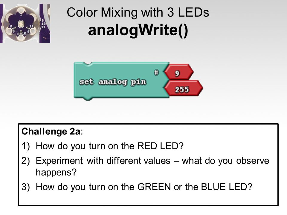 Color Mixing with 3 LEDs analogWrite()