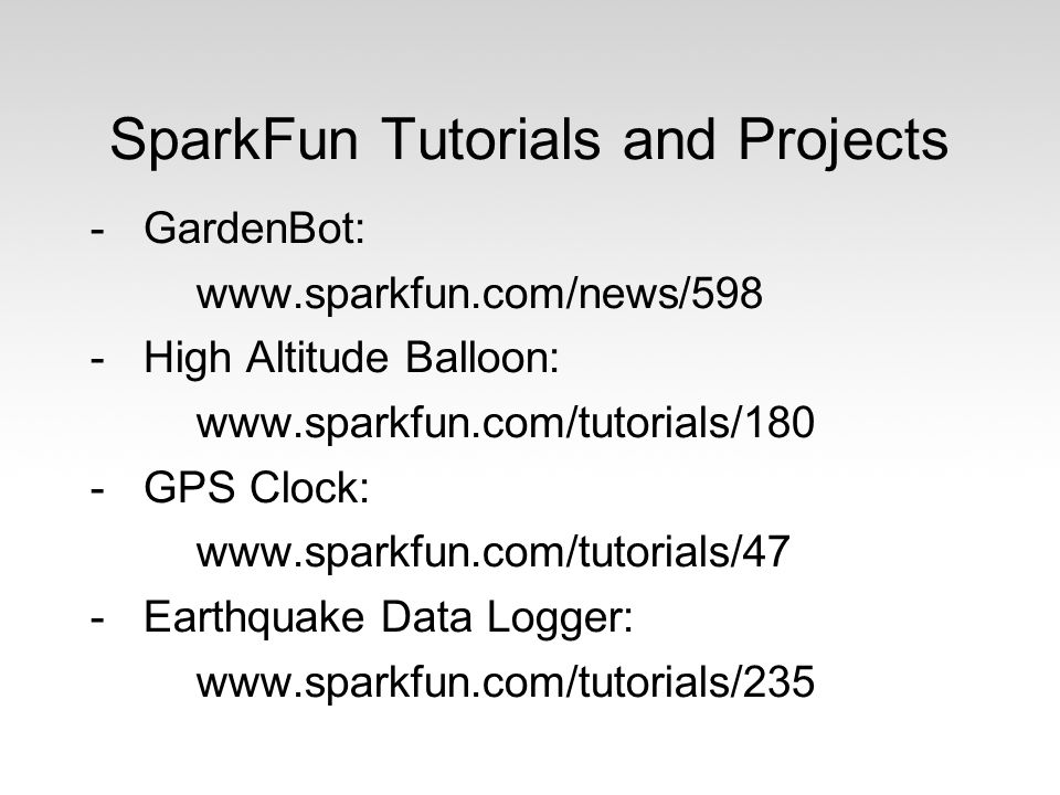 SparkFun Tutorials and Projects