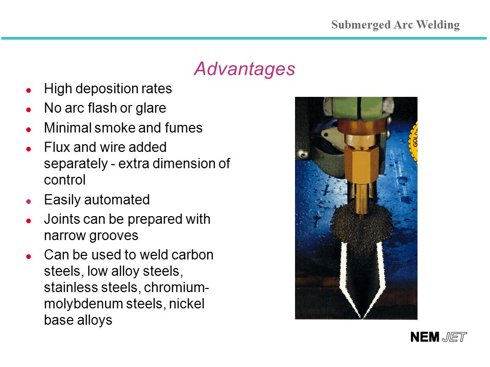 Advantages High deposition rates No arc flash or glare