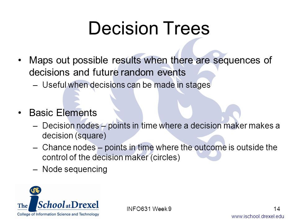 Decision Trees Maps out possible results when there are sequences of decisions and future random events.