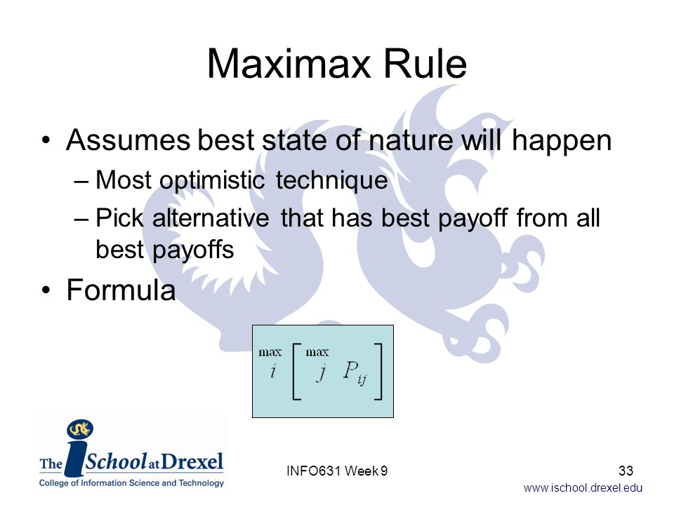 Maximax Rule Assumes best state of nature will happen Formula