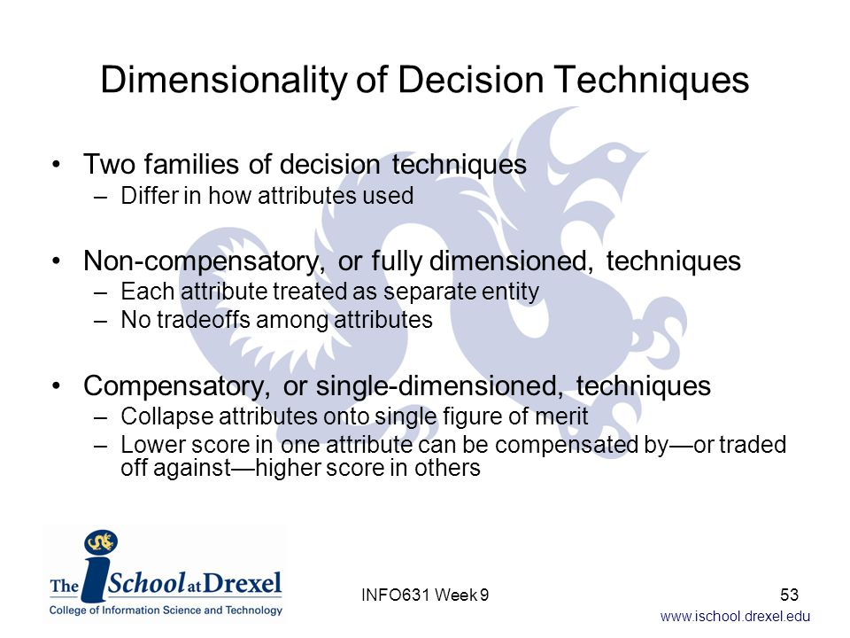 Dimensionality of Decision Techniques