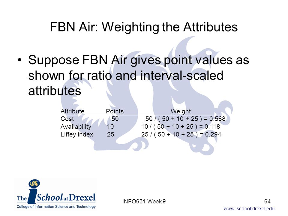 FBN Air: Weighting the Attributes