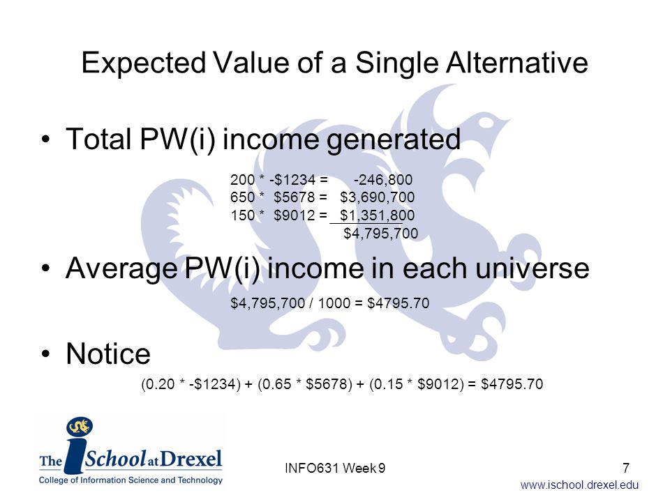 Expected Value of a Single Alternative