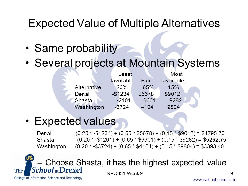Expected Value of Multiple Alternatives
