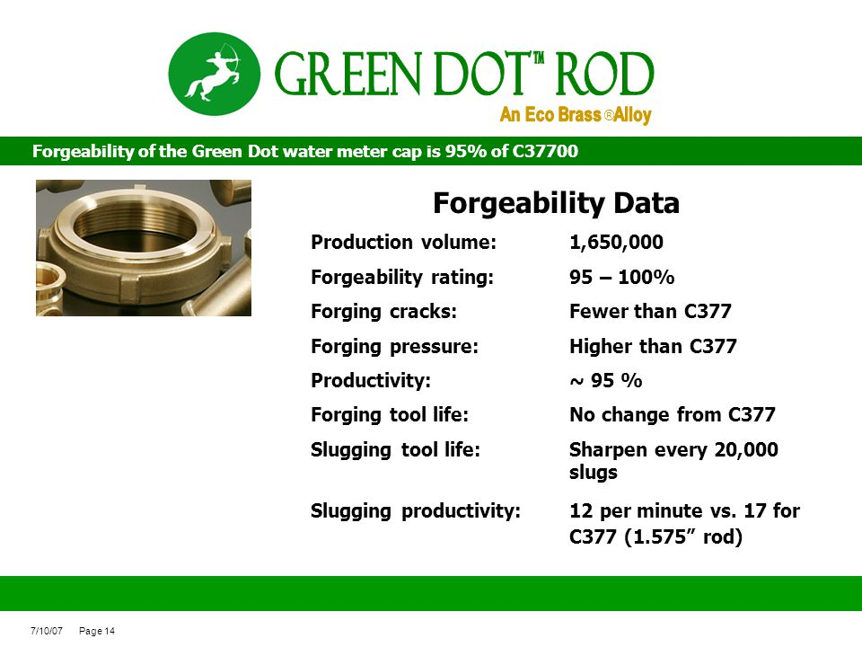 Green Dot ROd Forgeability Data An Eco Brass Alloy