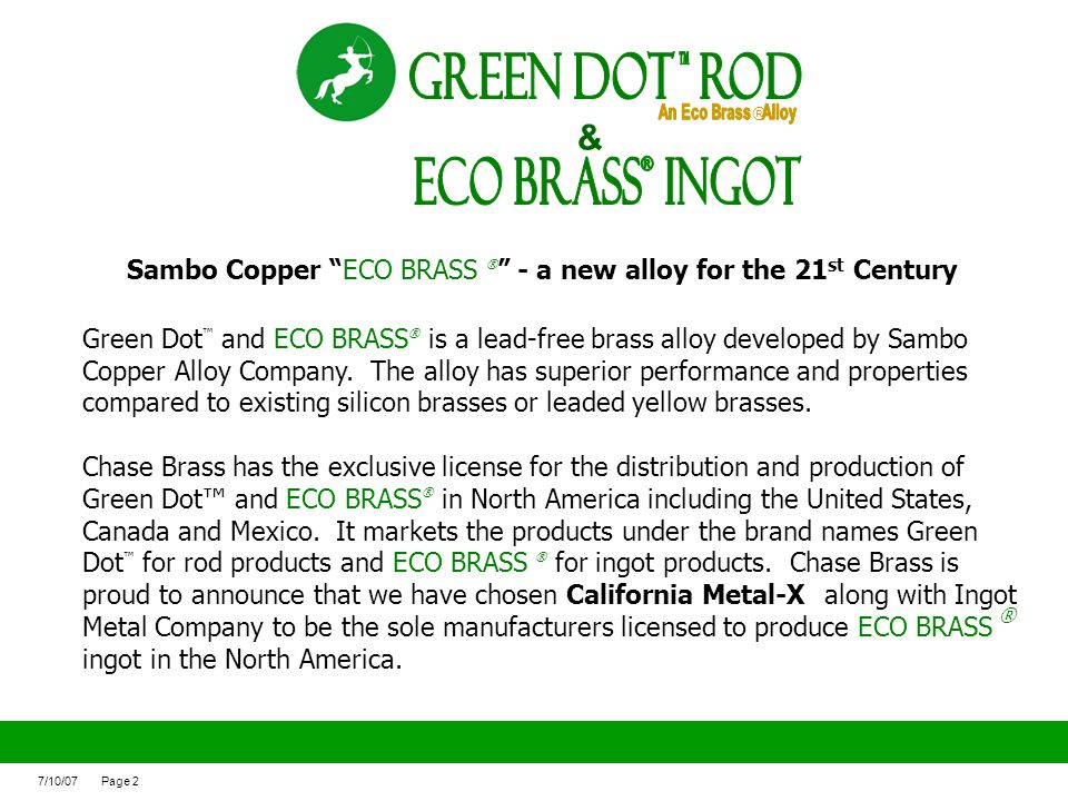 ECO BRASS Ingot ® Green Dot ROd &