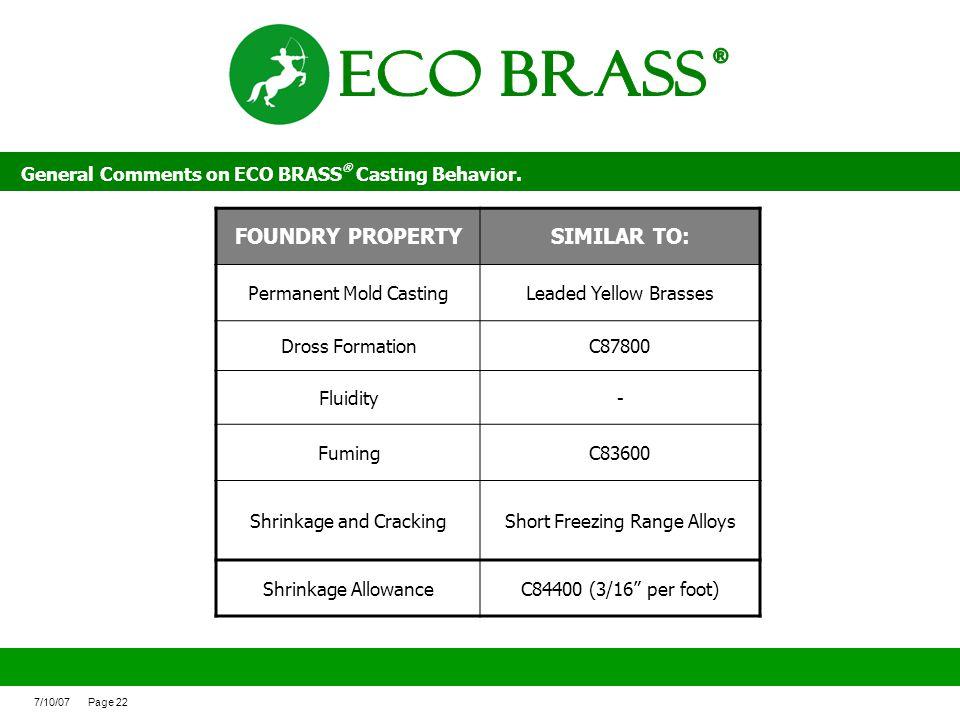 ECO BRASS ® FOUNDRY PROPERTY SIMILAR TO: