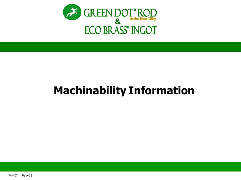Machinability Information