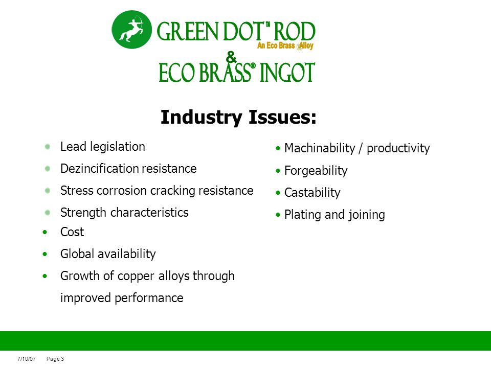 ECO BRASS Ingot ® Green Dot ROd Industry Issues: &