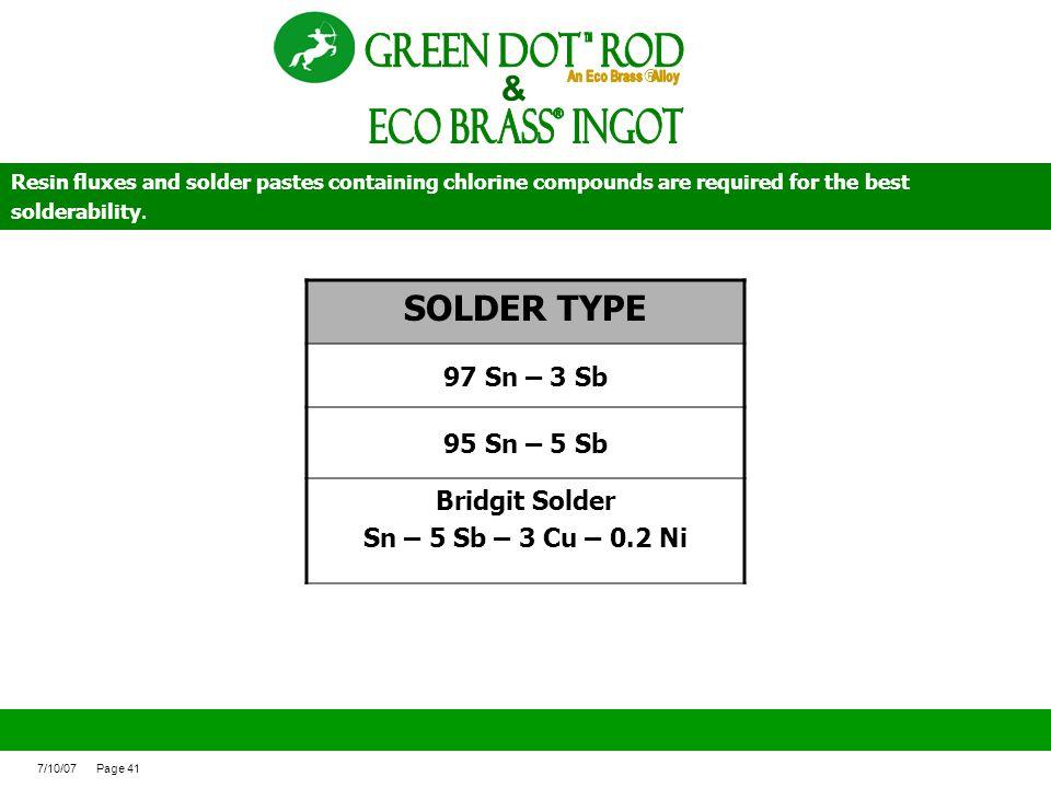 ECO BRASS Ingot ® Green Dot ROd & SOLDER TYPE 97 Sn – 3 Sb