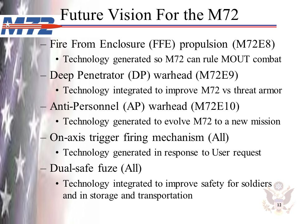 Future Vision For the M72 Fire From Enclosure (FFE) propulsion (M72E8)